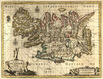 Vieille carte de l'Islande Image stock
