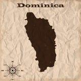 Vieille carte de la Dominique avec le papier grunge et chiffonné Illustration de vecteur illustration stock