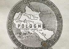 Vieille carte de la Pologne Photographie stock