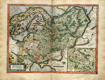 Vieille carte de la Russie, imprimée en 1587 Image libre de droits