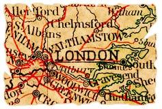 Vieille carte de Londres Photos libres de droits
