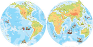 Vieille carte de marine Manière de Ferdinand Magellan Image stock