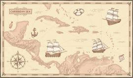 Vieille carte de mer des Caraïbes Itinéraires de pirate, bateaux de pirates de mer d'imagination et concept antiques de vecteur d illustration de vecteur