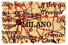 Vieille carte de Milan photographie stock libre de droits