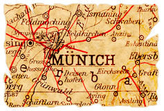 Vieille carte de Munich Image libre de droits