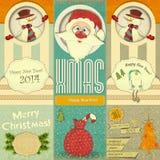 Vieille carte de nouvelles années de Noël Images libres de droits