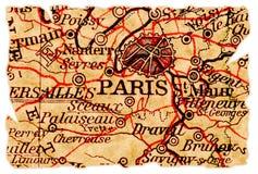Vieille carte de Paris Images libres de droits