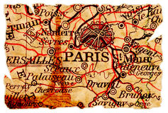 Vieille carte de Paris Images stock