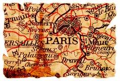 Vieille carte de Paris Images stock