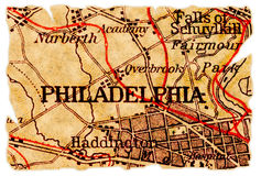 Vieille carte de Philadelphie Images libres de droits