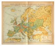 Vieille carte de population de l'Europe image stock