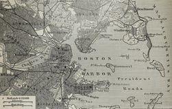 Vieille carte de port de Boston Photo libre de droits