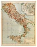 Vieille carte de Rome et la vieille Italie Photos libres de droits