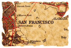 Vieille carte de San Francisco Photo stock