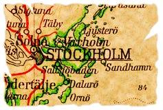 Vieille carte de Stockholm, Suède Images stock