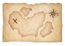 Vieille carte de trésor d'isolement avec le chemin de coupure Images libres de droits