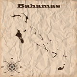 Vieille carte des Bahamas avec le papier grunge et chiffonné Illustration de vecteur illustration de vecteur