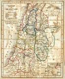 Vieille carte des Terres Saintes. Photographie stock libre de droits