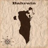 Vieille carte du Bahrain avec le papier grunge et chiffonné Illustration de vecteur Images libres de droits