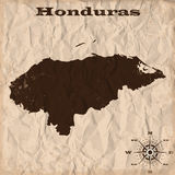 Vieille carte du Honduras avec le papier grunge et chiffonné Illustration de vecteur Image stock