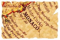 Vieille carte du Monaco Photo stock