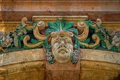 Vieille carte postale de façade avec les détails architecturaux Timisoara, ROM Photographie stock