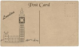 Vieille carte postale de Londres avec un dessin d'Elizabeth Tower stylization Photographie stock
