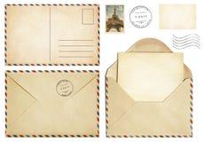 Vieille carte postale, enveloppe de courrier, lettre ouverte, collection de timbre Image stock