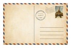 Vieille carte postale ou enveloppe avec l'isolat de timbre-poste Images libres de droits