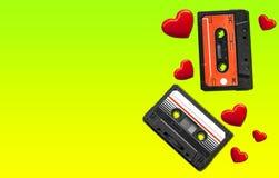 Vieille cassette sonore Bandes audio multicolores Vue de plan rapproché Le concept de la vieille musique Photographie stock libre de droits