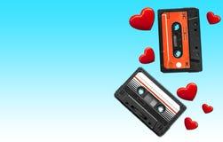 Vieille cassette sonore Bandes audio multicolores Vue de plan rapproché Le concept de la vieille musique Images libres de droits