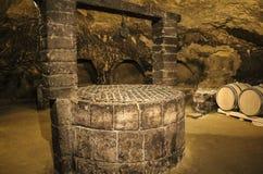 Vieille cave avec des barils de vin et d'un vieux puits photo libre de droits