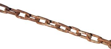 Vieille chaîne rouillée de fer d'isolement sur le blanc Images stock