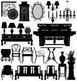 Vieille Chambre antique de maison de meubles Photos stock