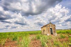 Vieille chapelle abandonnée à l'intérieur d'une plantation de canne à sucre au Brésil Photo libre de droits