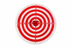 Vieille cible rayée de dards avec le coeur et la flèche Photographie stock