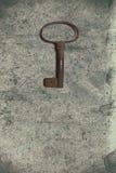 Vieille clé sur le vieux papier texturisé avec les modèles naturels image libre de droits