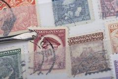 Vieille collection de timbres Photos stock