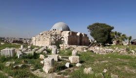vieille colline romaine de citadelle de la capitale Amman de la Jordanie Photos libres de droits