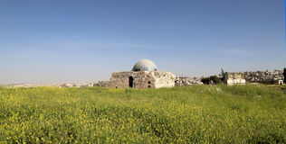 Vieille colline romaine de citadelle de la capitale Amman de la Jordanie Photo stock