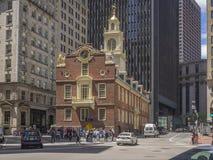 Vieille construction de logements d'état de Boston Photos stock