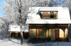 Vieille construction en hiver Photographie stock