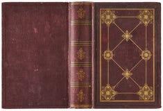 Vieille couverture de livre ouverte - vers 1889 Photographie stock