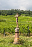 Vieille croix dans le vignoble, France Photo stock