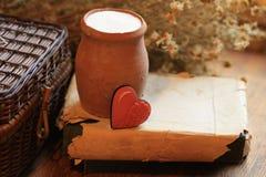 Vieille cruche d'argile de lait Photo stock