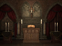 Vieille crypte avec des bougies Photos stock