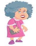 Vieille dame de bande dessinée avec un sac à main Photo stock