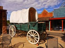 Vieille diligence occidentale de chariot couvert Photos stock