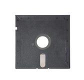 Vieille disquette 5-25 pouces sur le fond blanc Photo libre de droits
