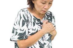 Vieille douleur de femme de crise cardiaque Photographie stock